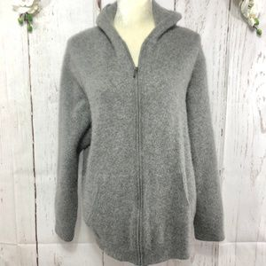SAKS FIFTH AVENUE CASHIMIRE HOODIE JACKET SIZE XL